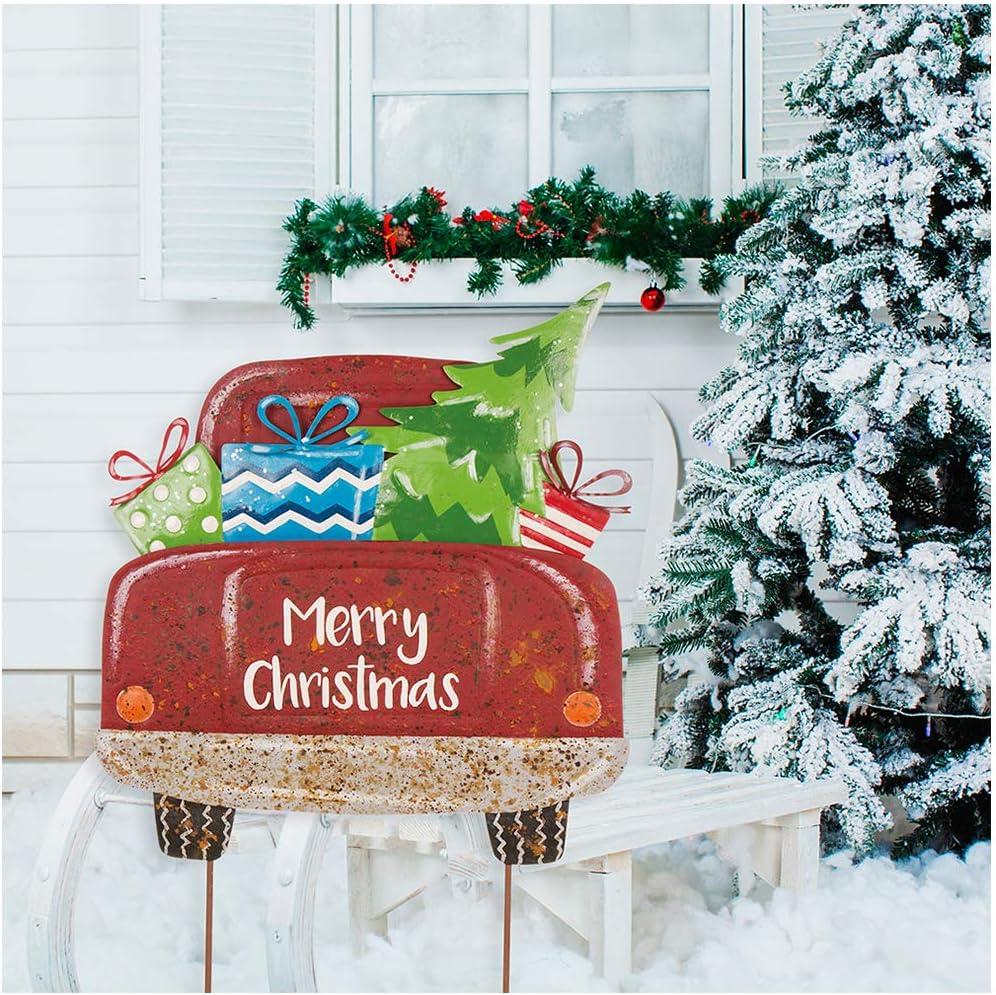 "Glitzhome Rustic Metal Christmas Truck Yard Stake Lawn Garden Standing Sign Lawn Patio Wall Decor 32"" H"