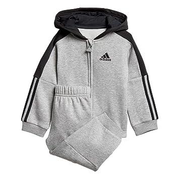 7aa02c97caa7 adidas Baby Jogginganzug Logo Full Zip Hooded medium Grey Heather Black 62
