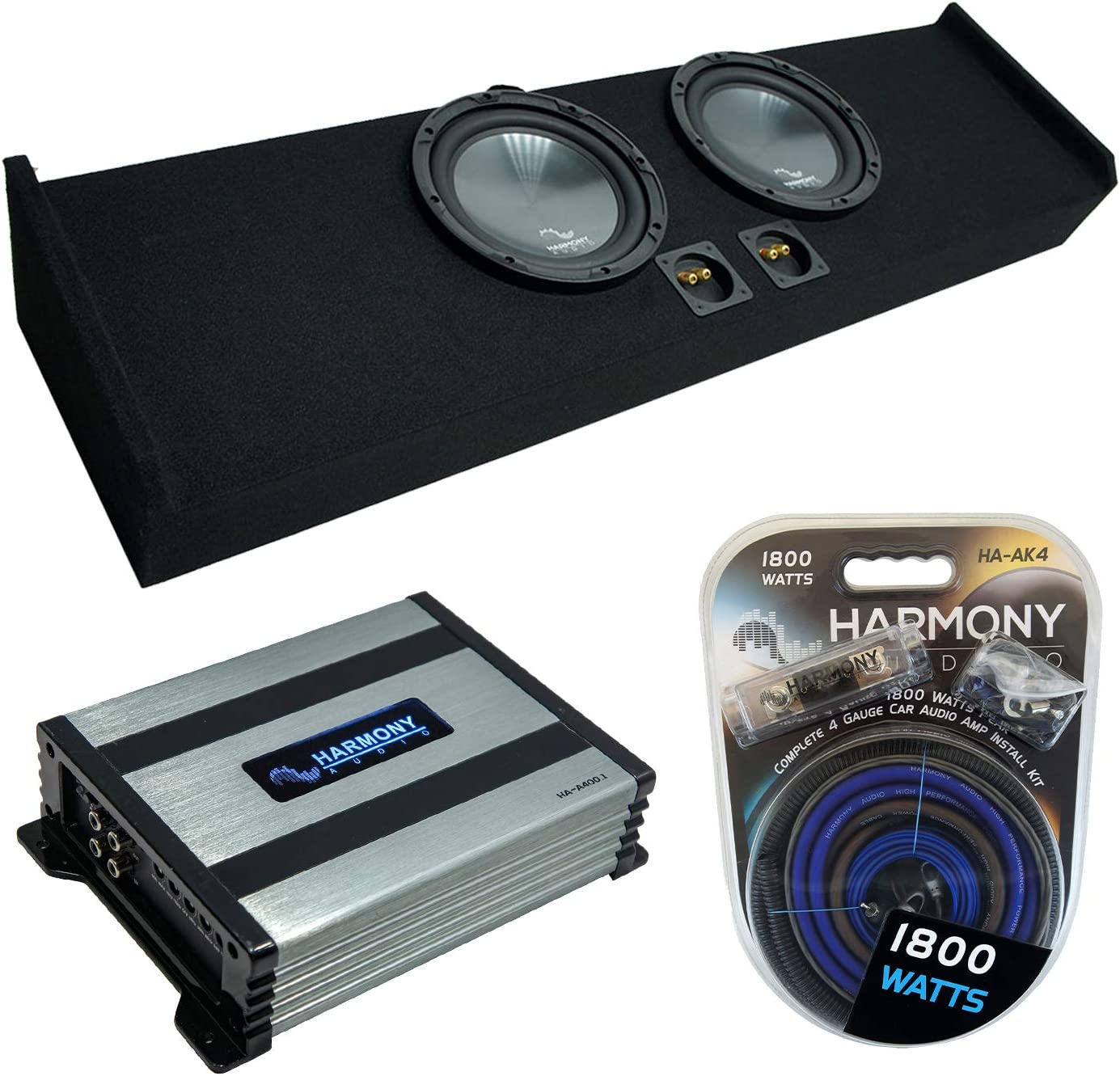 "Harmony Audio R124 Dual 12"" Loaded Sub Box Bundle with HA-A400.1 Amp"