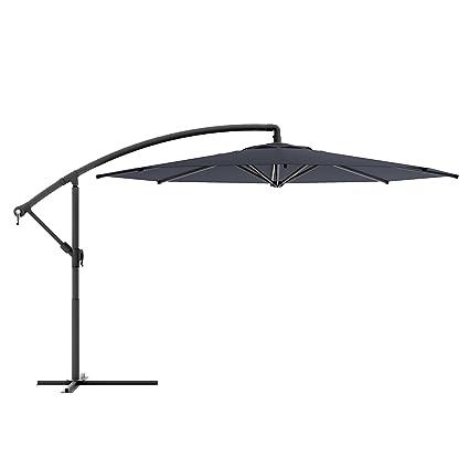 corliving ppu 400 u offset patio umbrella black - Black Patio Umbrella