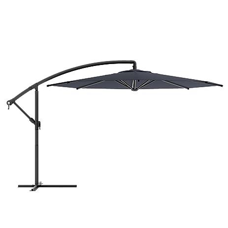 CorLiving PPU 400 U Offset Patio Umbrella, Black