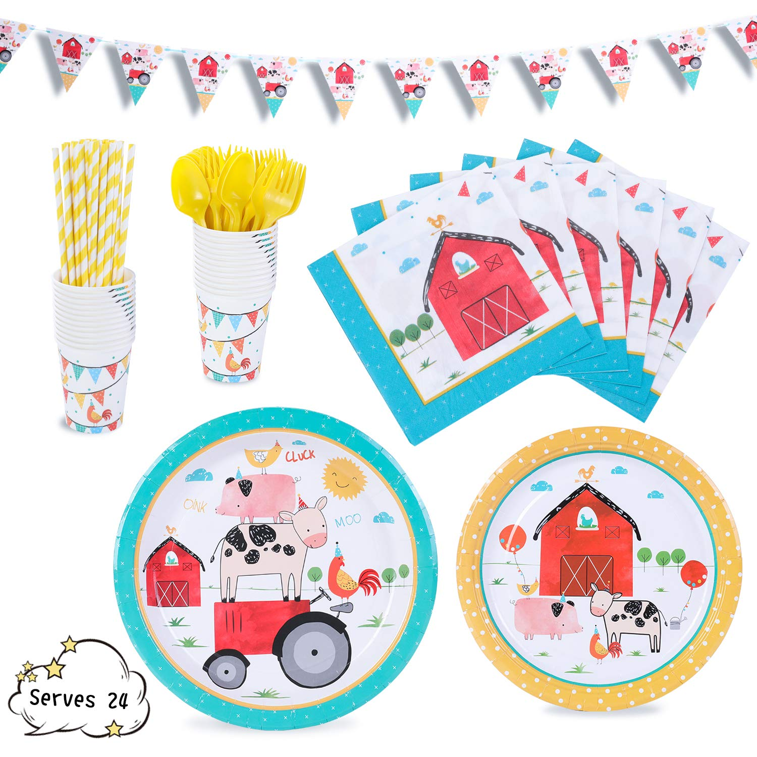 Farmhouse Party Supplies Decorations Barn Barnyard Fram Animals Dinnerware 169 Pcs Serves 24 Includes 7''&9'' Paper Plates Napkins Straws Knives Forks Cups Banner For Birthday, Farm Themed Parties, Serves 24 by Party Family