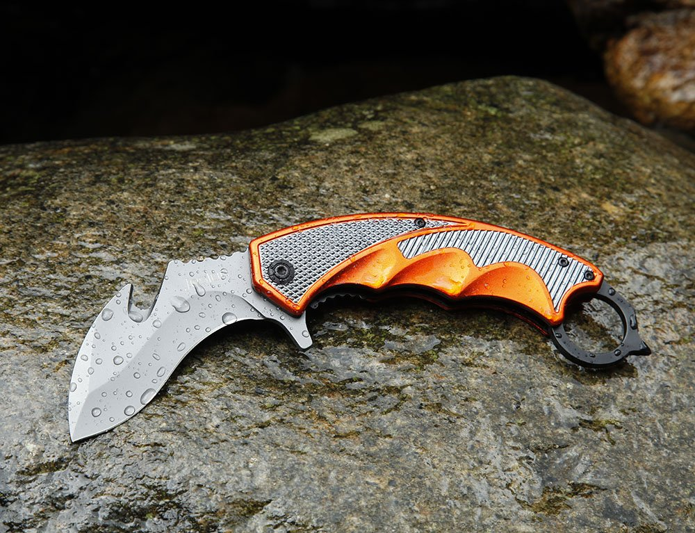 Jeslon Spring Assisted Knife, Half Serrated Blade Camping Knives Counter Strike Fight Survival Tactical Claw Pocket Knives