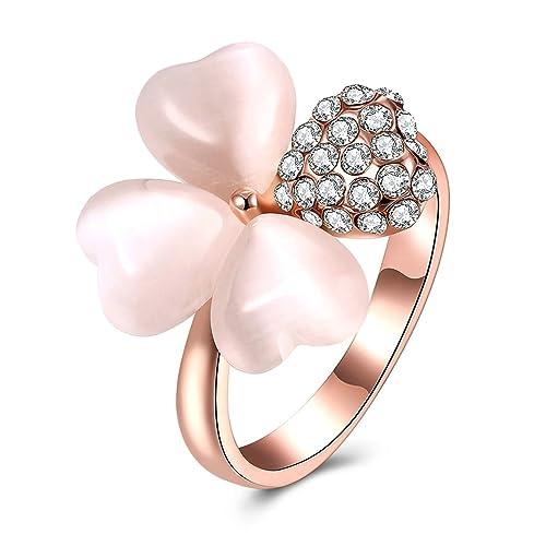 Adisaer mujeres anillos chapado en oro rosa forma de corazón rosa piedra tamaño 6 – 9