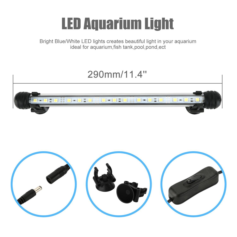 NONMON Illuminazione dellAcquario 39cm Bar Lampada Anfibia per Vasca dei Pesci Decorazione Impermeabile LED Striscia 21 LED Luce Bianca EU Plug