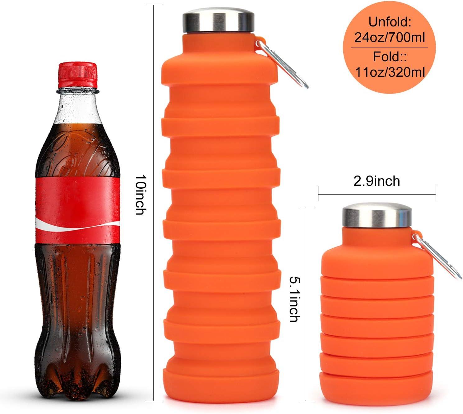 OSVAW Botella de Agua Plegable de Silicona de Grado alimenticio Botella de Agua Plegable sin BPA para Viajes Gimnasio Camping Senderismo Botella de Agua Deportiva port/átil