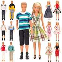 Barwa Lot 15 Items for 11.5 Inch Boy and Girl Doll EU CE-EN71 Certified Include 5 Sets Casual Wear Clothes + 5 Pcs Pants…