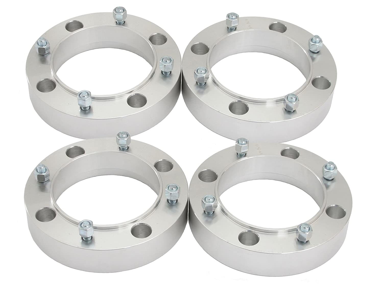 RockTrix for Precision European - 4pc 1' Thick 4x156 ATV Wheel Spacers with 3/8' Studs Nuts for many Polaris & Kawasaki: Predator Ranger RZR Sportsman XP Lakota Mojave Tecate (4/156) Silver Precision European Motorwerks