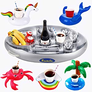 FEEBRIA Inflatable Floating Drink Holder with 9 Holes Large Capacity & Transparent Material,Drink Float for Pool Party Beach (6 Pack)