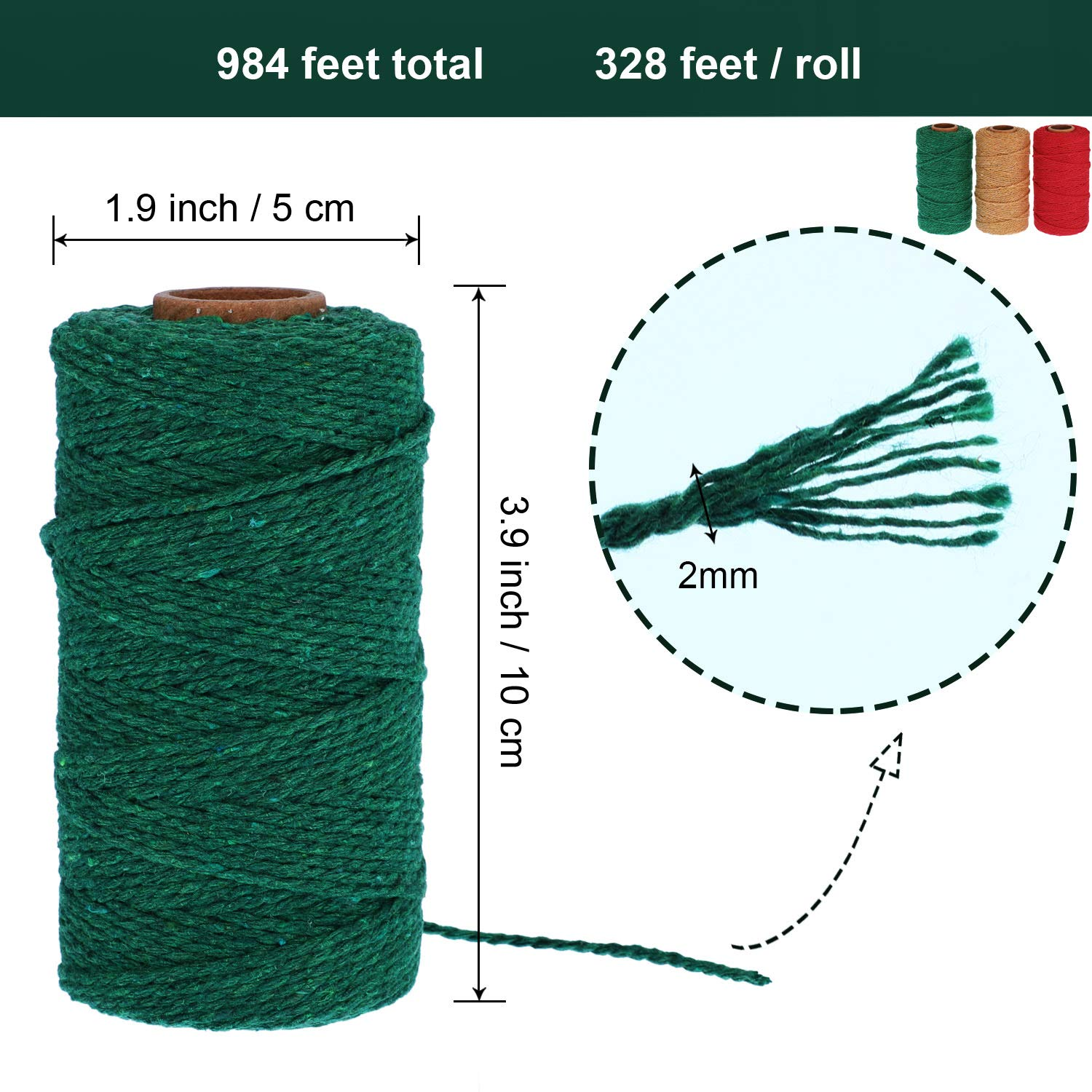 Amazon.com : Pangda 984 Feet Cotton Baker Twine 2 mm Valentines Day Christmas Wrapping String Rope for DIY Craft, 3 Colors (Red, Green, Khaki) : Office ...