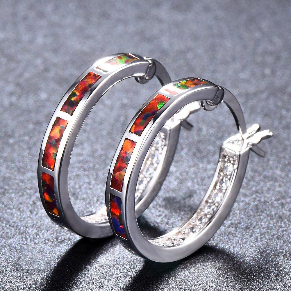 Laboratory Fire Opal Hoop Earrings 925 Sterling Silver Orange Buckle Earrings White Gold Plated Girls Birthstone Gift