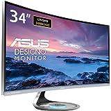 """Asus MX34VQ Monitor Curvo, Display da 34"""" UWQHD, 3440 x 1440 VA, Qi Ricarica Wi-Fi, Audio Harmon Kardon, Filtro della Luce Blu, Certificazione TUV"""