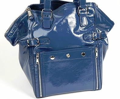 Yves Saint Laurent YSL  Downtown  Leather Tote (blue)  Handbags ... c30bab42b123b
