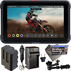 """Atomos Ninja V 5"""" Touchscreen Recording Monitor 10bit HDR with 2X NP-F750 Batteries, Charger, 7"""" Magic Arm + Cleaning Cloth Bundle"""