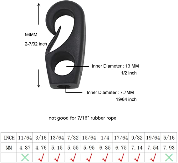 YYST 10 X Shock Cord Hook Self Fit Hook Snap Hook for 3 or 4mm Bungee Shock Cord Yi Ya Su