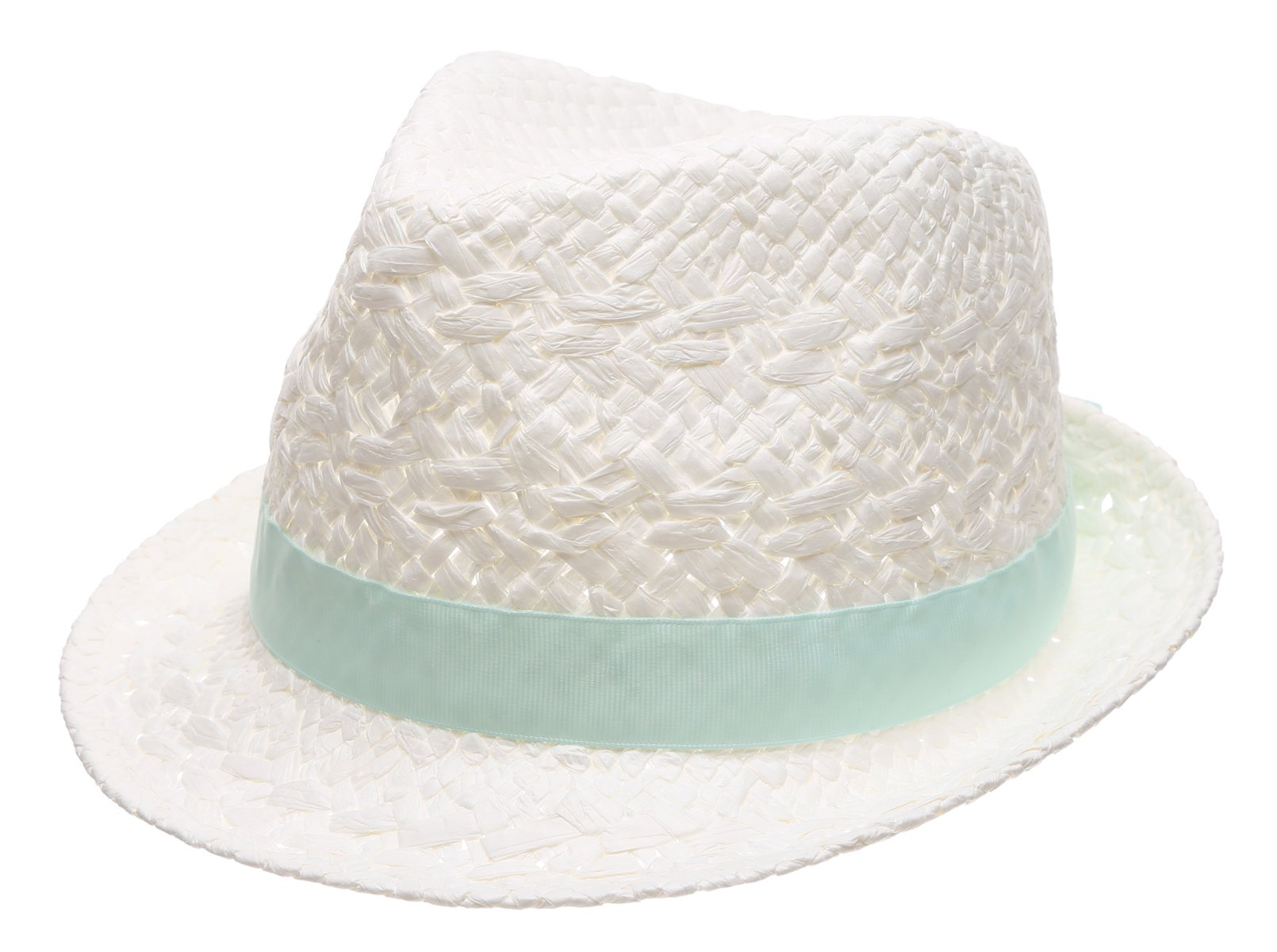 MIRMARU Women's Summer Trilby Short Brim Sun Straw Fedora Hat Cap With Bow Band(Solid Band,White)
