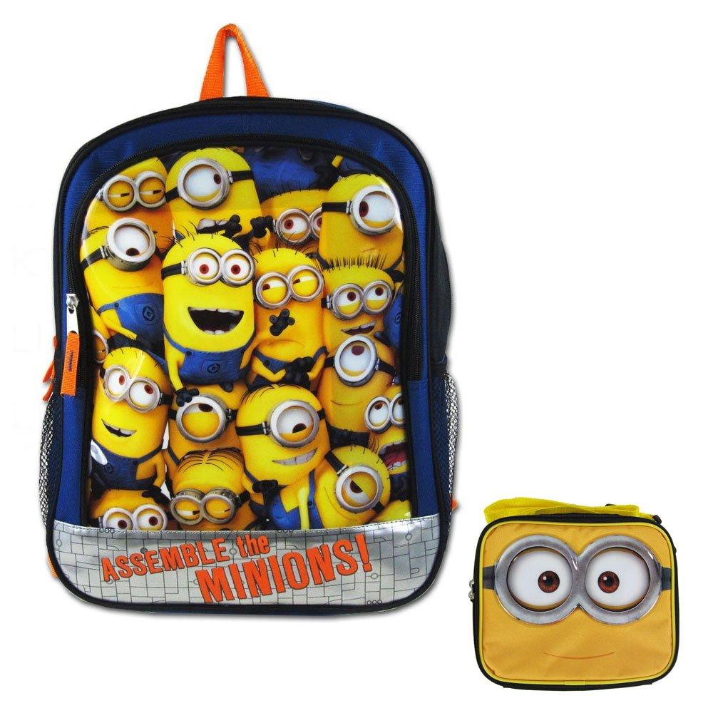 Amazon.com: A set of 2 Piece Gift Set: 1 Officially Licensed Despicable me Backpack and Adjustable Strap Lunch Box - Assemble the Minions: Sports & Outdoors