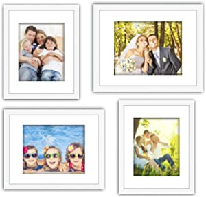 XUFLY 4Pcs 11x14 Tempered Glass Wood Frame White, with 3X Mat Fit for 8x10 5x7 4x6 inch Family Photo Kid Picture, Desktop On Wall Vertical Horizontal Support Office Decoration Landscape City Red