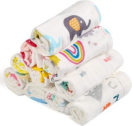 BelleStyle Muselinas Organicas Bebé, Toallas de Baño para Recién Nacidos Bebé de Muselinas de Algodón Pequeñas Toallas de Lavabo Extra Suaves para Bebé 10 Piezas: Amazon.es: Bebé