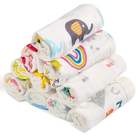 BelleStyle Muselinas Organicas Bebé, Toallas de Baño para Recién Nacidos Bebé de Muselinas de Algodón Pequeñas Toallas de Lavabo Extra Suaves para ...