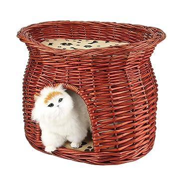 Amazon.com : Yosooo Two Tier Wicker Cat Bed, Handmade Pet ...