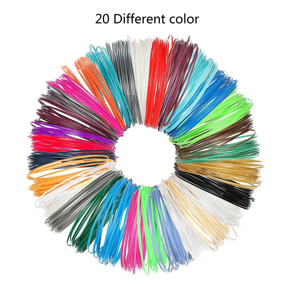3D Pen Filament Refills, niceEshop(TM) 1.75mm PLA with Total of 20 Different Colors 3D Printing Pens Filaments Supplies for 3D Print Pen (Color Randomly, 5m)