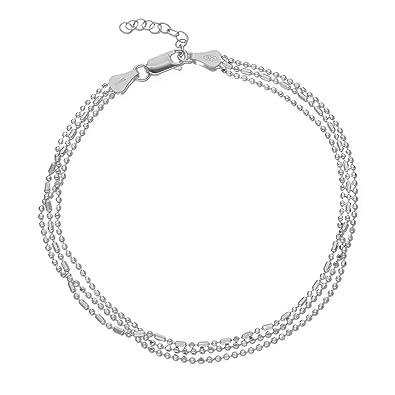 LillyMarie Damen Fußkettchen aus 925 Silver Sterling-Silber Silber  Längen-verstellbar Geschenkverpackung Hochzeitstag Geschenke für Frauen   Amazon.de  ... 33d9d84ef3