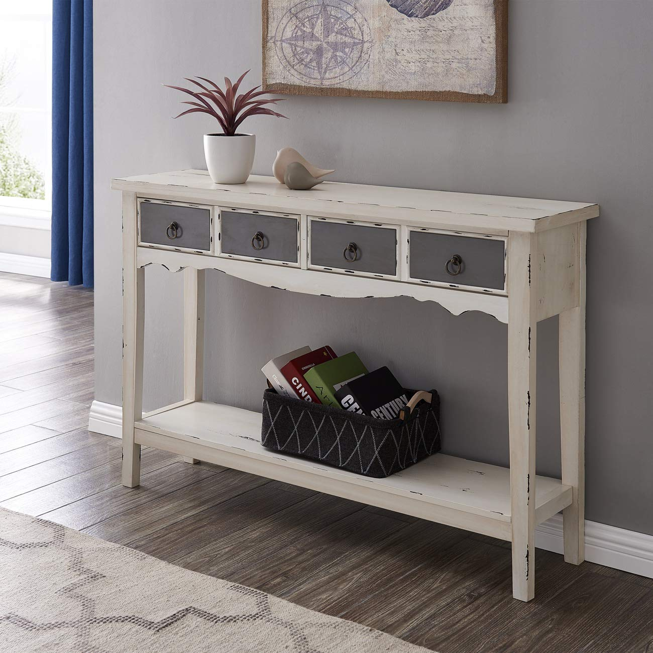 BELLEZE Hand Painted Distressed Antique White Finish Accent Console Table by Belleze