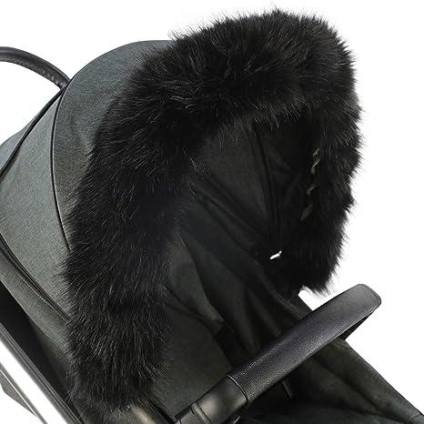 For-Your-Little-One Fur Hood Trim Pram Compatible on Babyelegance Dark Grey