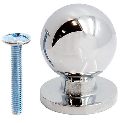 12 pomos de bola de cajón cromado premium de 25 mm – para cocina/armario