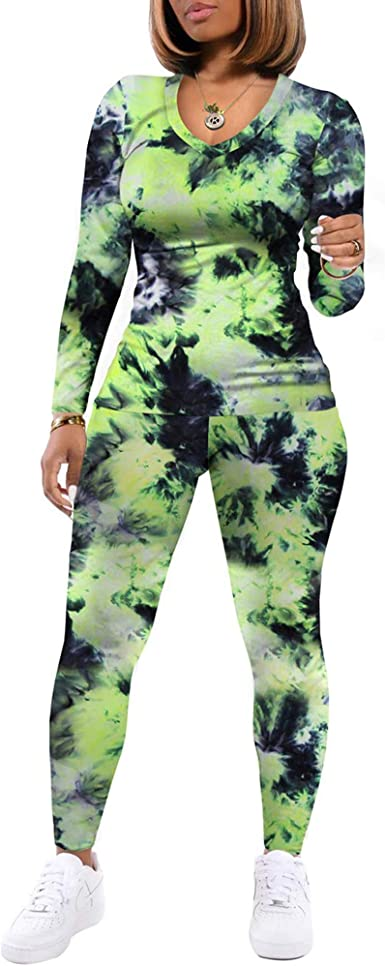 Women's Two Piece Tie Dye Outfits Casual Long Sleeve V Neck Pullover Sweatsuit Pants Sets Tracksuits