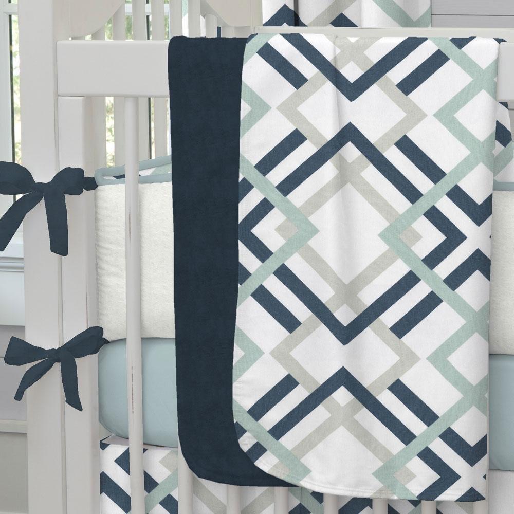Carousel Designs Navy and Gray Geometric Crib Blanket by Carousel Designs   B00VVTZT9Q