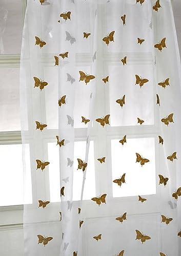 Butterfly Sheer Drapes Long faux Silk 108