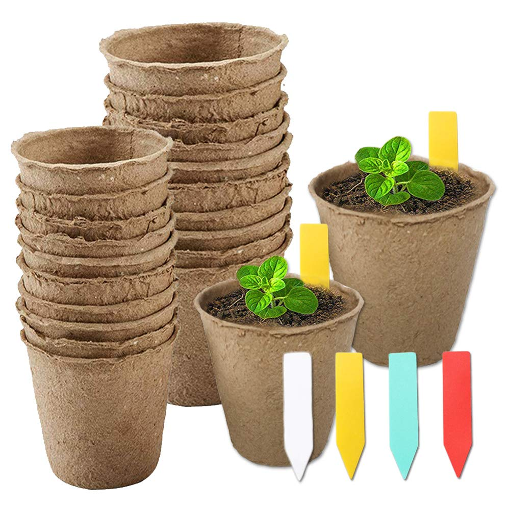 YBB 60 Pcs Plant Starter Pots 60 Pcs Colorful Plant Markers, 3 Inch and 2.36 Inch Biodegradable Plant Seed Starter Kit Organic Peat Pots for Seedlings, Flowers, Vegetables