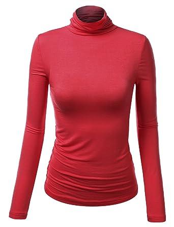 Amazon.com: J.TOMSON Womens Thin Long Sleeve Turtleneck Shirt ...