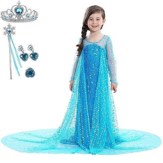 CosPrincely Disfraz de Princesa Niña Traje del Vestido Disfraz de Carnaval Cosplay Halloween Fiesta Cumpleaños