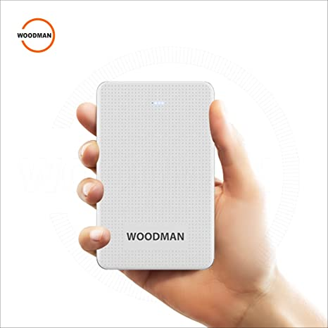 Woodman Power Bank 10000 mAh  Lithium Polymer Battery  White with Dual Fast Charging Slots Mobile Accessories