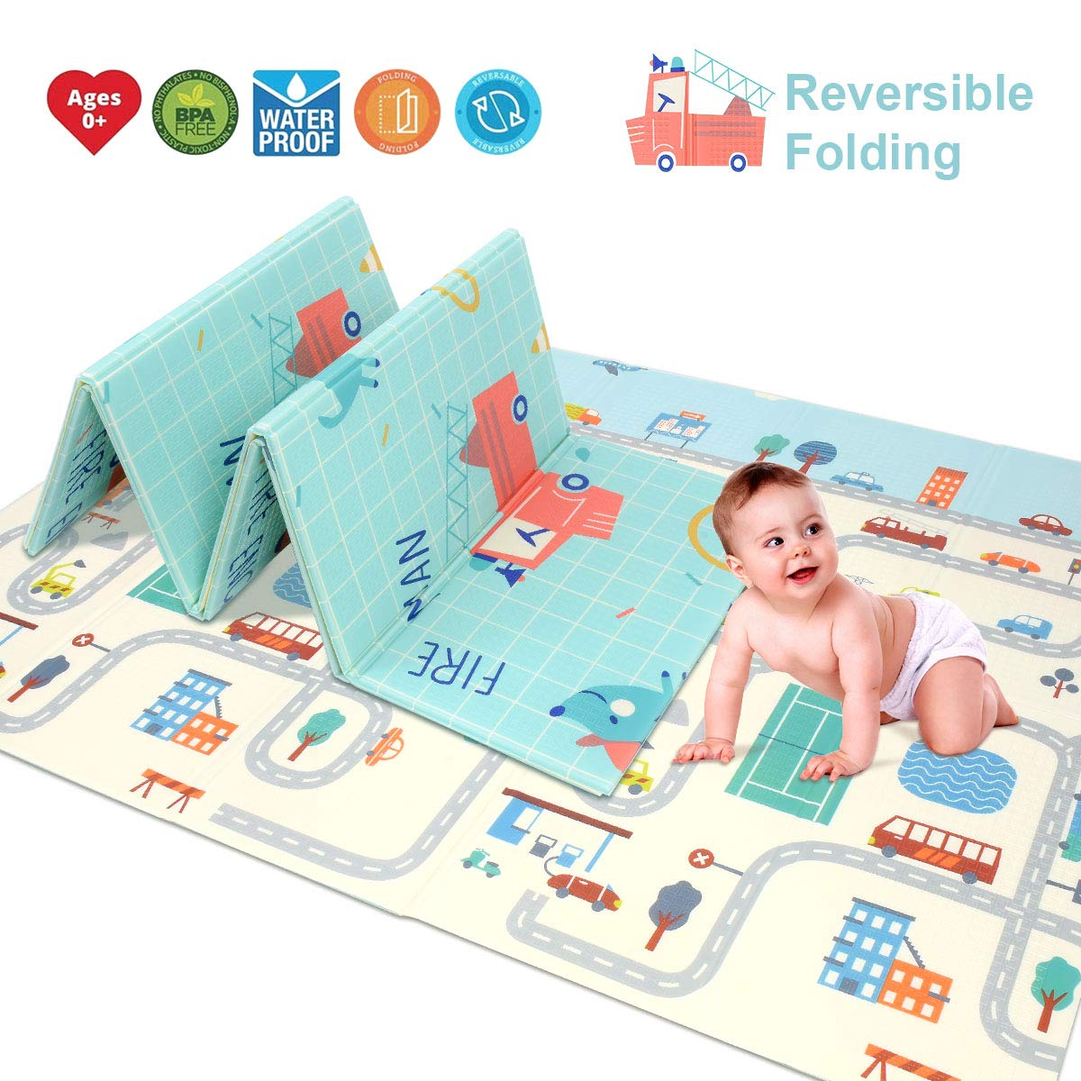 Baby Reversible Play Mat 78.7''x 59''x0.4'' Double-Sided Crawling Mat Foldable Waterproof Non-Toxic Portable BPA Free Floor Mat for Toddlers, Infants, Kids