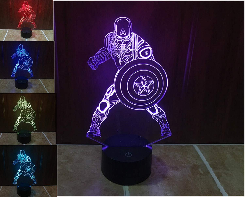 SUPERNIUDB Marvel Civil War Captain Soldier 3D Night Light LED USB 7 Color Change LED Table Lamp Xmas Toy Gift