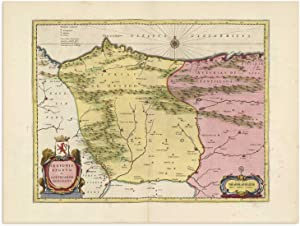 The Blaeu Prints   Burgos, Spain, Castilla y Leon - Historical Map Print from Antique Atlas by Joan Blaeu - Old Map Shows: Gijon, Oviedo, Aviles