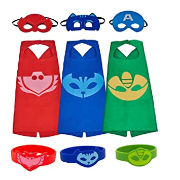 Amazon.com: MIJOYEE PJ Masks Costumes For Kids Catboy Owlette Gekko Mask Cape Bracelet: Toys & Games