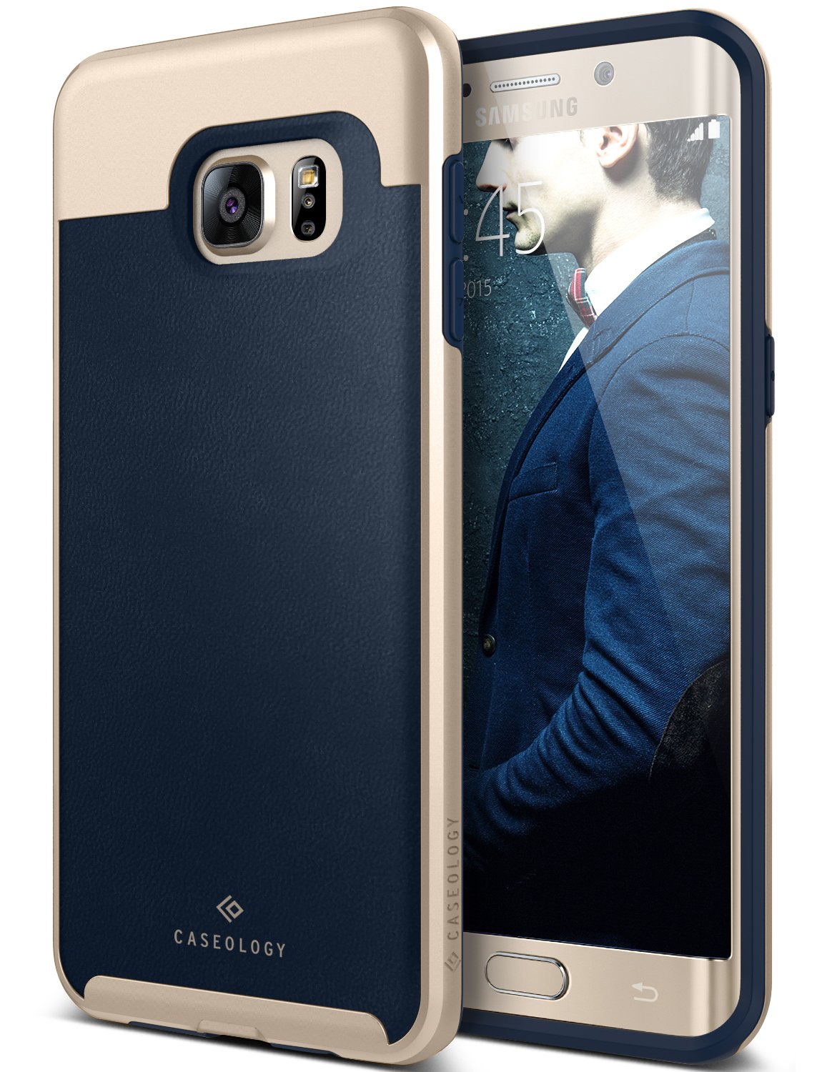 new style f5f53 6e277 Galaxy S6 Edge Plus Case, Caseology [Envoy Series] Classic Rich Texture  Leather [Leather Navy Blue] [Luxury Slim] for Samsung Galaxy S6 Edge Plus