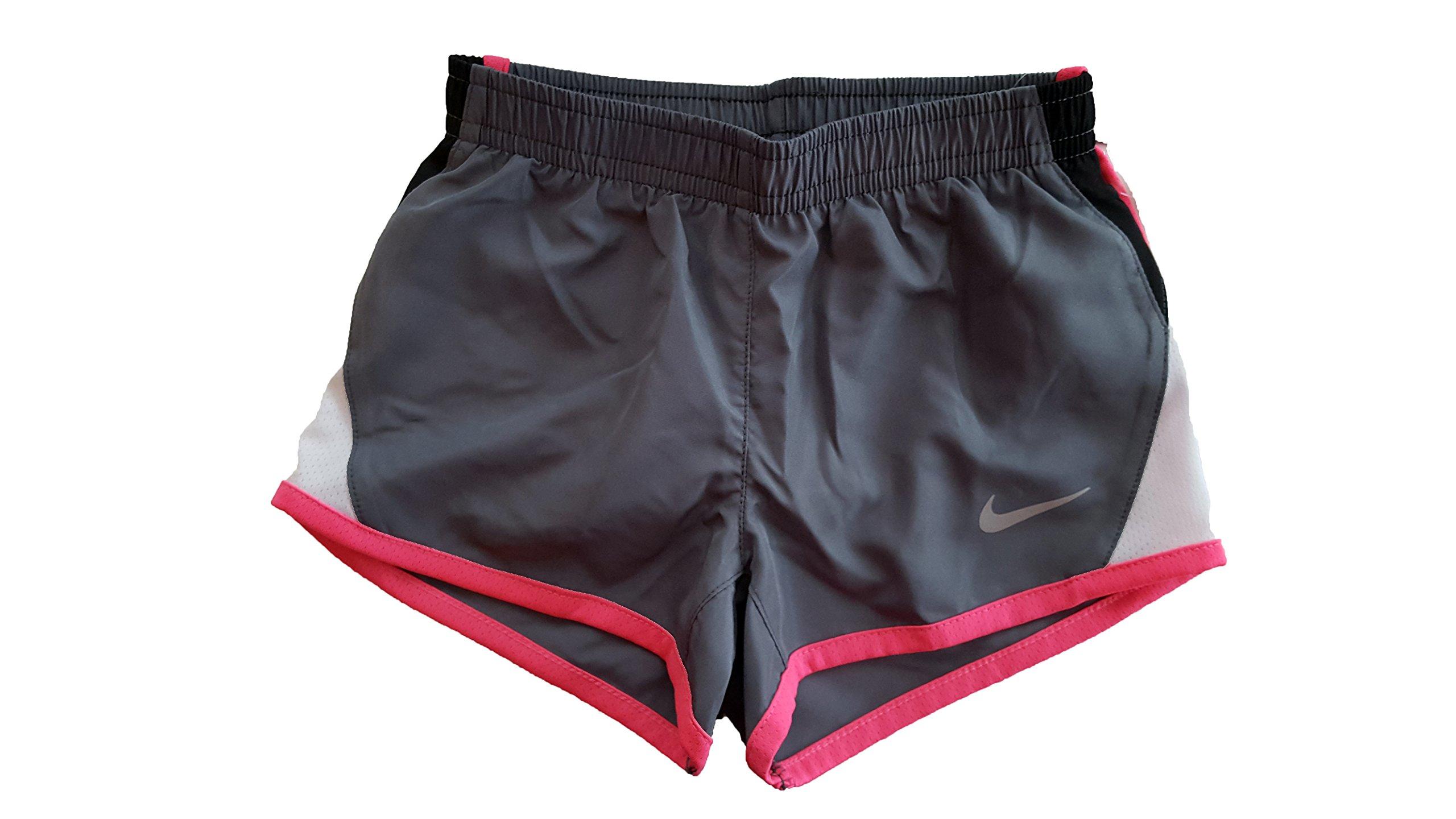 Nike Little Girls' Tempo Shorts (2T, Cool Grey (478) / Black/White/Pink)