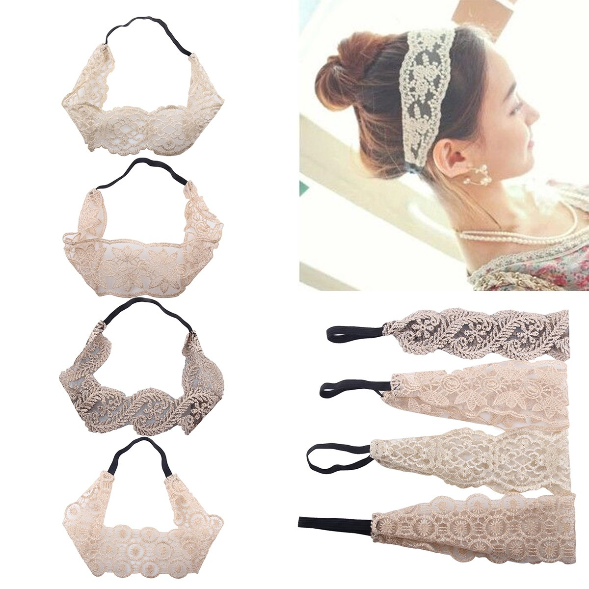 Frcolor Lace Headbands, Elegant Retro Stretch Headband Hair Band Wide Headwrap for Women Girls, 7Pcs