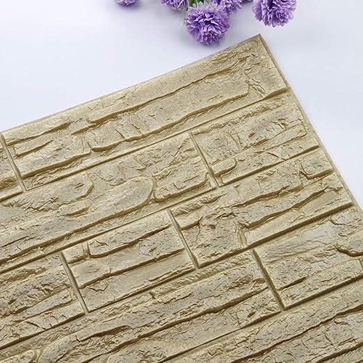 JiaMeng Pegatina de Pared, DIY 3D ladrillo PE Espuma Wallpaper ...
