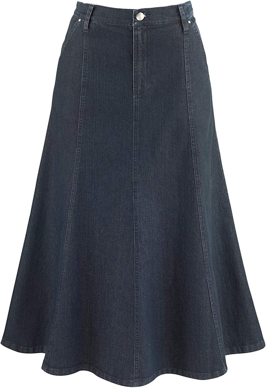 Denim Flare Maxi Skirt