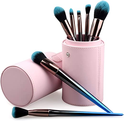 Basic Makeup Brushes set & Gradient Kit with Premium Synthetic Foundation for Face Eyeshadow Lips Makeup Powder Cosmetics Blending,7PCS Brush Set, Blue