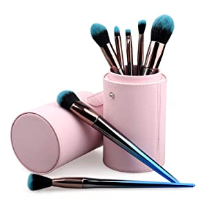 TCPF Basic Makeup Brushes set, Gradient Blue Makeup Brushes Kit, Cosmetic Brush set with Face Eyeshadow Foundation Blush Lip Makeup Brushes Powder Cosmetics Blending Makeup Brush Set,7PCS