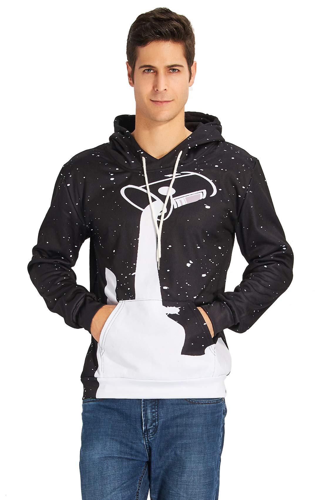 RAISEVERN90 Stilvolle Stern auslaufende Milch Printed Kordelzug Kapuze Strickjacke für Männer Schwarz