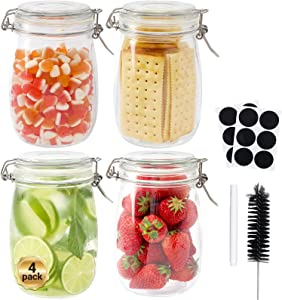 Glass Octopus 34oz Glass Jars with Airtight Lids, Glass Storage Jars with Leak Proof Rubber Gasket for Kitchen, Airtight Glass Storage Container for Snacks, Jams, Candy, 4 Pack(1000ML), Round